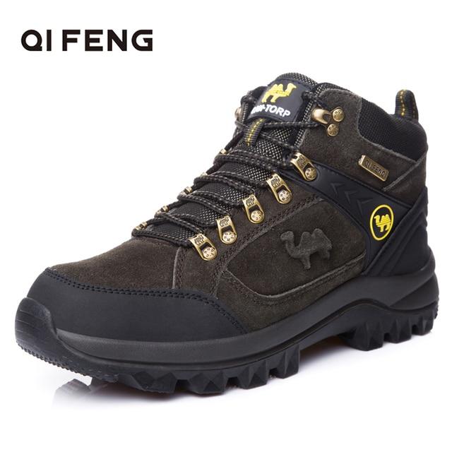 Hakiki Deri Açık Spor Ayak Bileği yürüyüş botları, Moda Dana Derisi Süet trekking ayakkabıları, Erkek Kaya Dağ Tırmanışı Ayakkabı