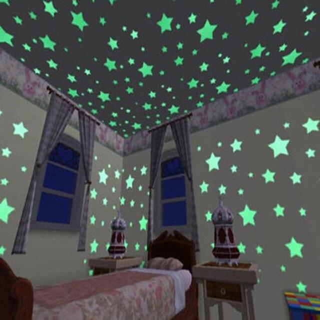 100 pcs Luminous Adesivos de Parede Glow In The Dark Stars Decalques Da Etiqueta para o Bebê Crianças quartos Coloridos Fluorescentes Adesivos Casa decoração
