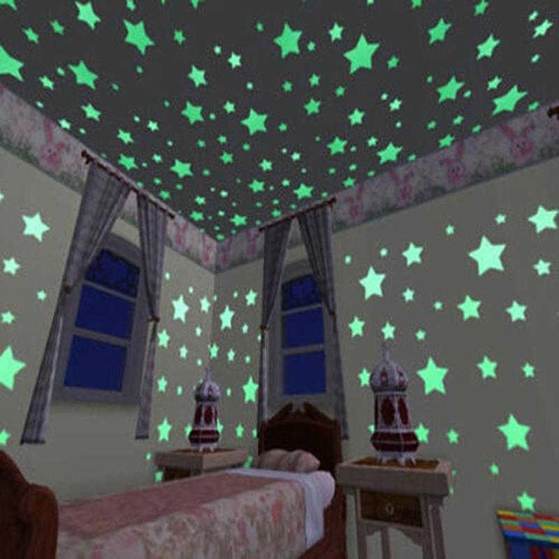 100Pcsสติ๊กเกอร์ติดผนังส่องสว่างGlow In The Dark Starsสติ๊กเกอร์สำหรับเด็กที่มีสีสันเรืองแสงสติ๊กเกอร์decor