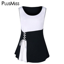 PlusMiss Plus Size 5XL 4XL Black and White Lace Up Sleeveless Tunic Tank Tops Women Big Size Office Work Wear Vests Summer 2018