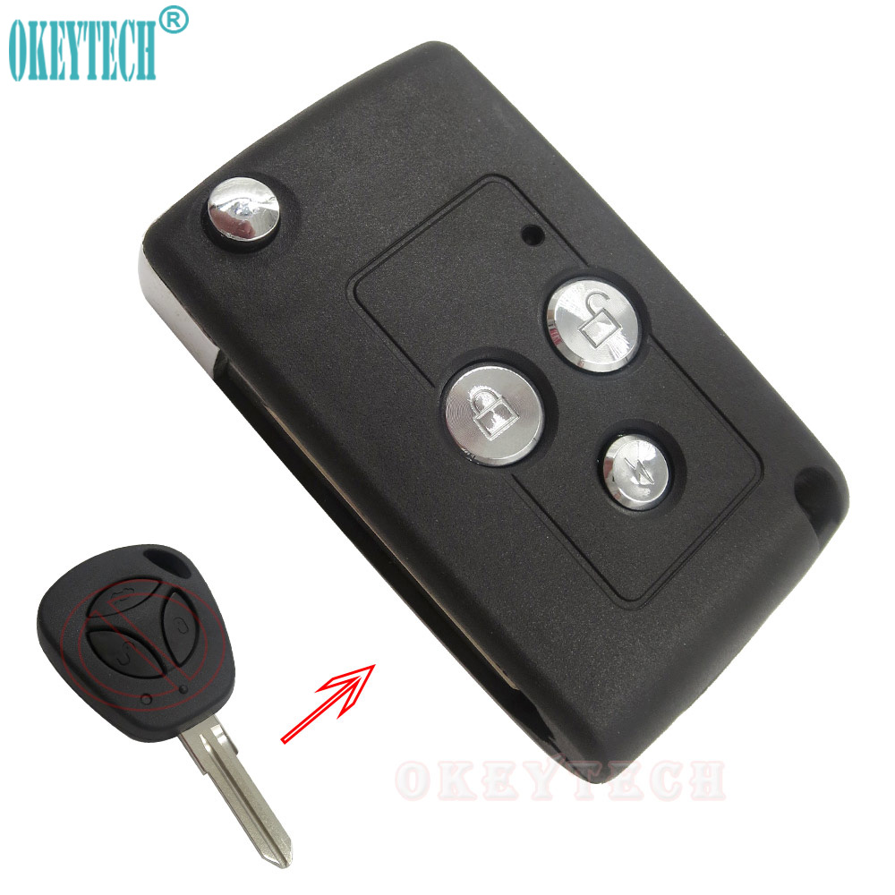 OkeyTech Modified Flip Remote Car Key Case Shell For LADA Priora Niva Vaz Granta Samara 2108