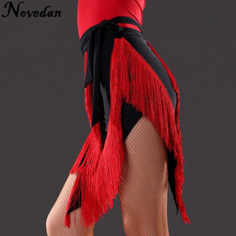Women Ballroom Skirt Black Red Samba Salsa Latin Tango Dance Dress Skirt Unequal Fringe Ballroom Dance Skirts