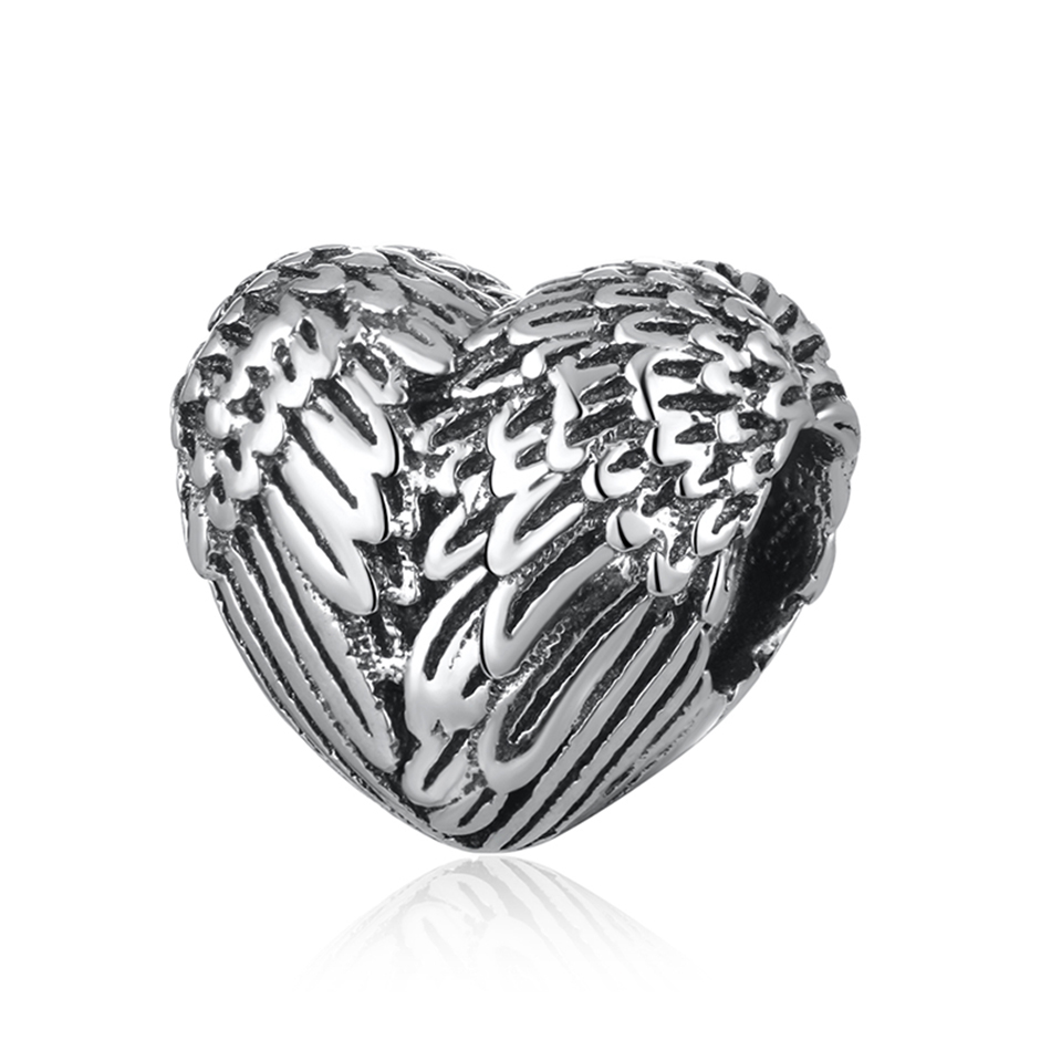 For Women DIY Jewelry Making Fit Pandora Bracelet Bangle Jewelry Heart Angelic Feathers Anchor Family Silver Plated Beads Charms
