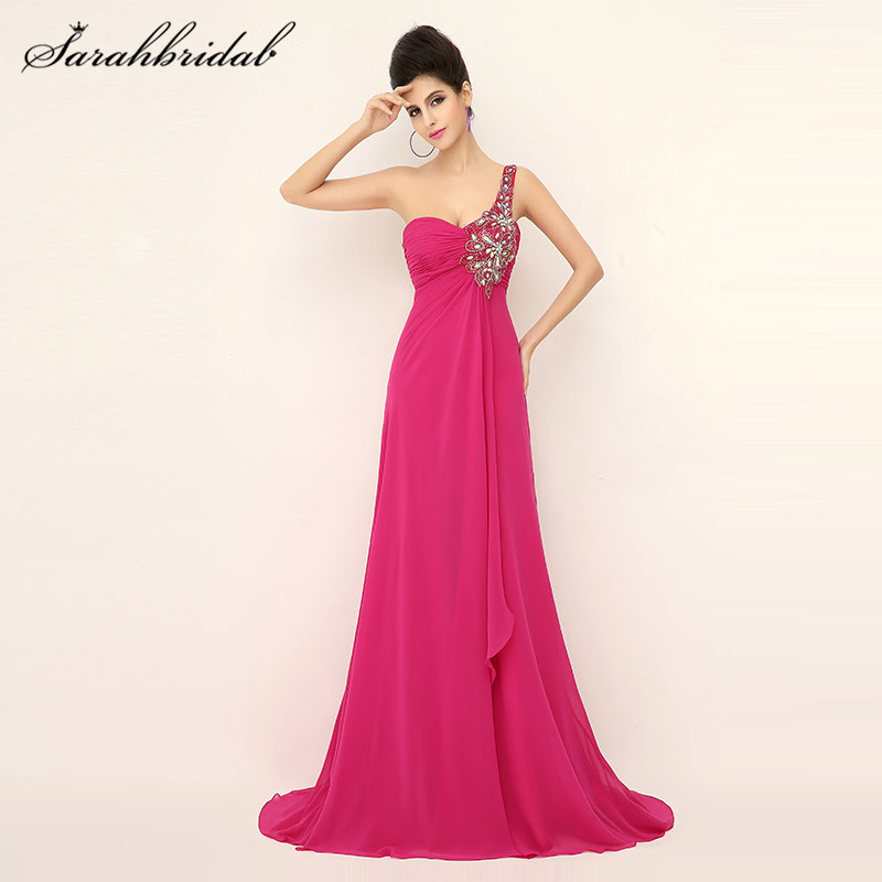 Elegant One Shoulder Long   Prom     Dresses   A-Line Crystal Beaded Backless Fuchsia Chiffon Formal Party Gown Pleats Court Train AJ019