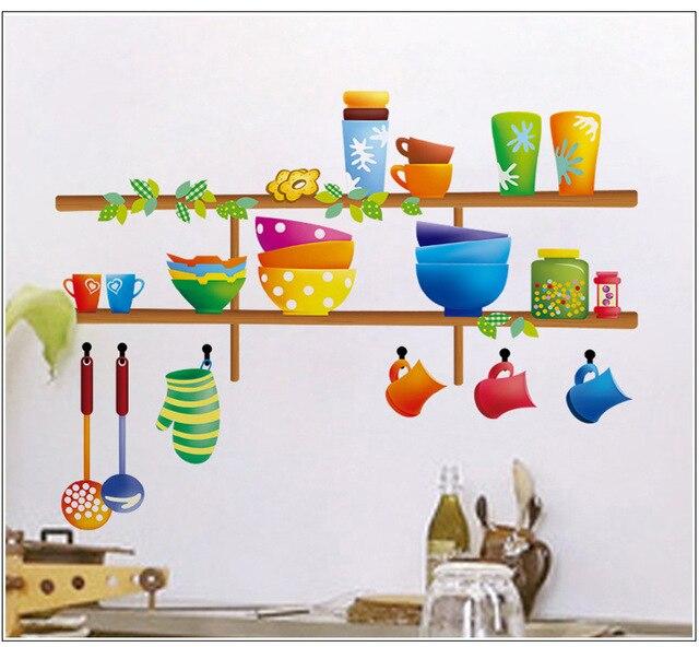 Bunte Küche Regale Wandaufkleber Cartoon Schüssel Kürbisschöpflöffels Scoop  Geschirr Wandtattoo Für Küche Dinning Room Decor