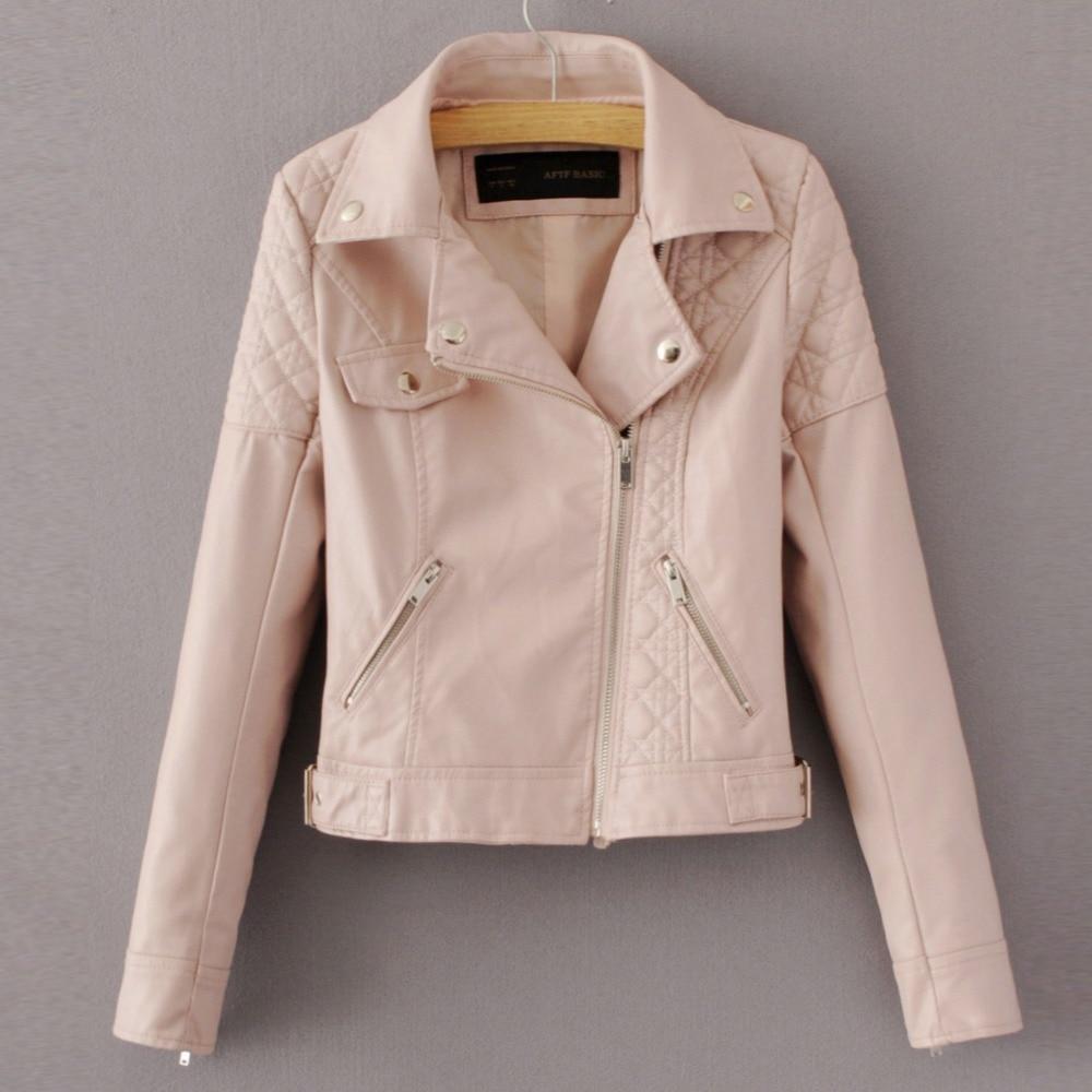 Fashion Pink Sky Blue Women Leather Jacket Bomber -1942