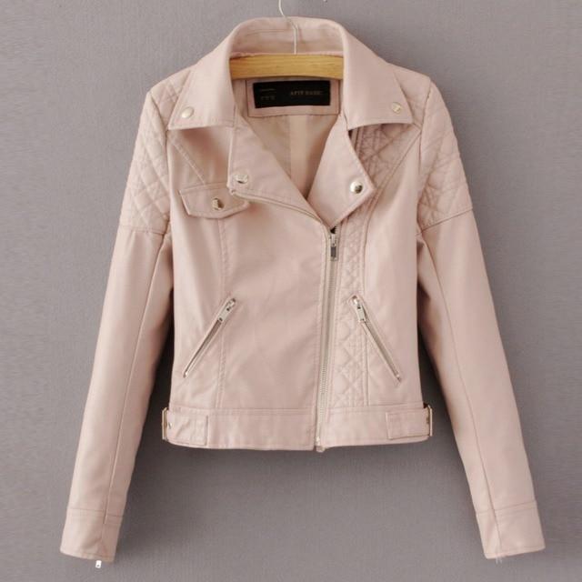 fashion pink sky blue women leather jacket bomber motorcycle Leather  jacketswomen 4 color brand leather coat 9757c14d6
