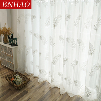 ENHAO Elegant Embroidered Tulle Curtains for Living Room Bedroom Kitchen White Feather Voile Sheer Curtains for Window Tulle beige polyester flannel europe embroidered blackout curtains for living room bedroom window tulle curtains home hotel villa