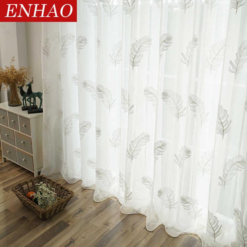 ENHAO Elegante Ricamato Tende di Tulle per Soggiorno camera Da Letto Cucina Bianco Piuma Voile Tende Trasparenti per la Finestra Tulle