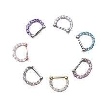 1 шт унисекс кольцо для носа хирургическая сталь кубический цирконий перегородка Кликер кольцо для пирсинга Mujer Модные Украшения для тела