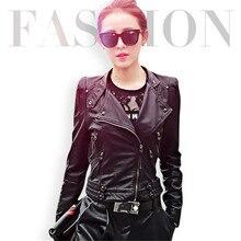 Women Black Motorcycle Leather Jacket Coat Slim Short Designer Zipper Outerwear Coats New 2016 Autumn Biker Jacket A1380