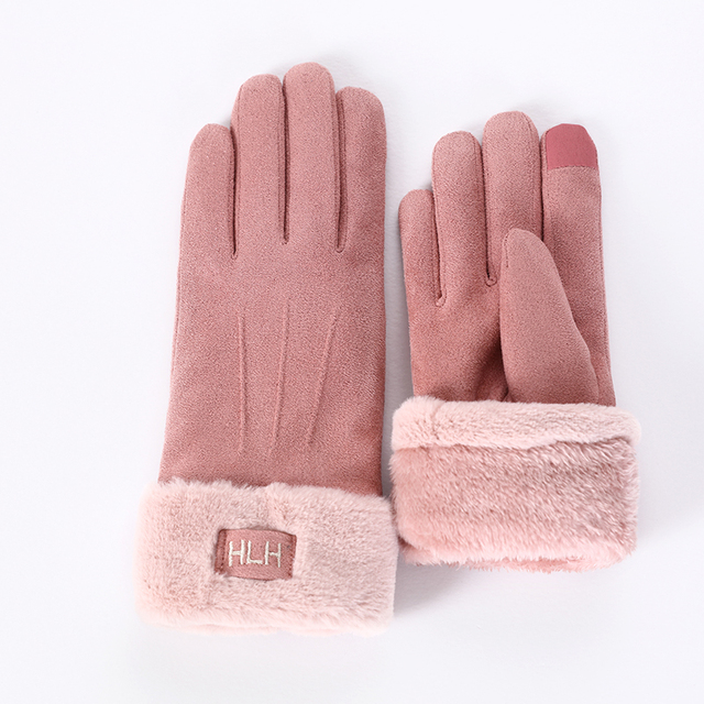 New Winter Female Lace Warm Cashmere Three Ribs Cute Bear Mittens Double thick Plush Wrist Women Touch Screen Driving Gloves 81B 3