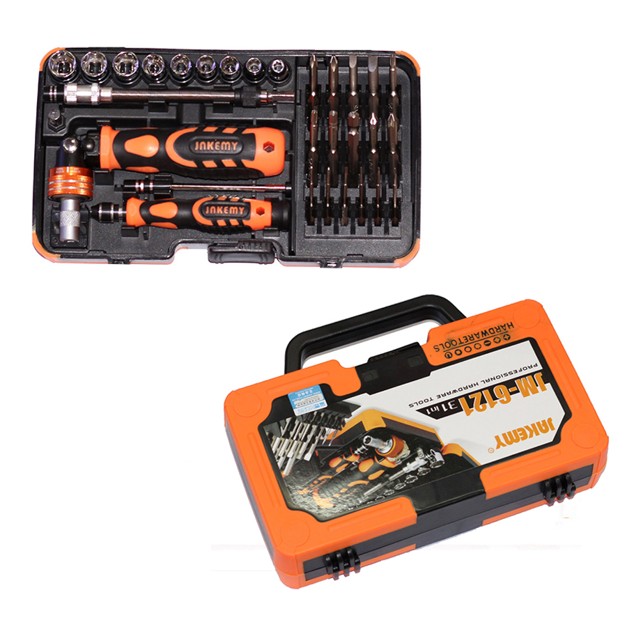 Professional hardware Multi hand tool JM-6121 screwdriver set repair electronic products home maintenance car repairing kit 46pcs socket set 1 4 drive ratchet wrench spanner multifunctional combination household tool kit car repair tools set