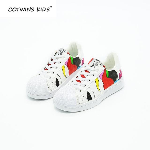 CCTWINS CRIANÇAS baby girl 2017 primavera pu de couro sapato casual para as crianças do esporte da forma branco trainer marca menino sneaker plana tornozelo