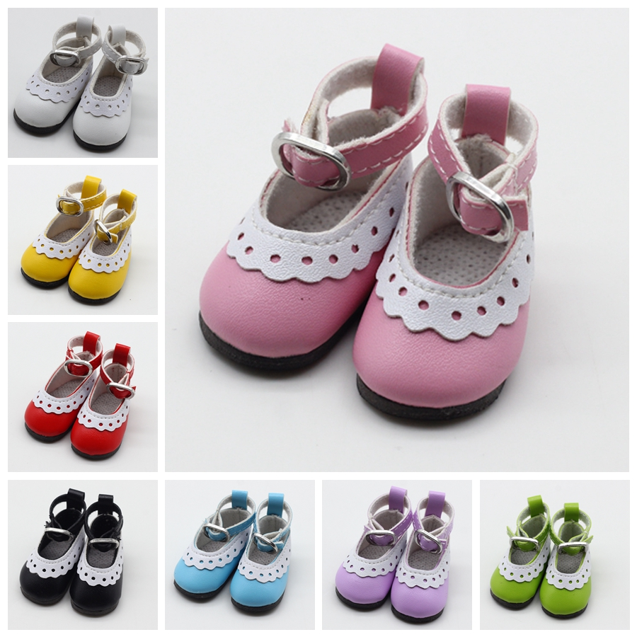 1 Pair 5cm PU Leather Shoes For BJD Doll Fashion Mini Toy Lace Canvas Shoes 1/6 Doll For Russian Doll Accessories Free Shipping