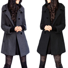 coats female brand woolen warm long overcoat slim women's winter  femininos jacket black gray trench Ladies coat 4XL 5XL 6xl
