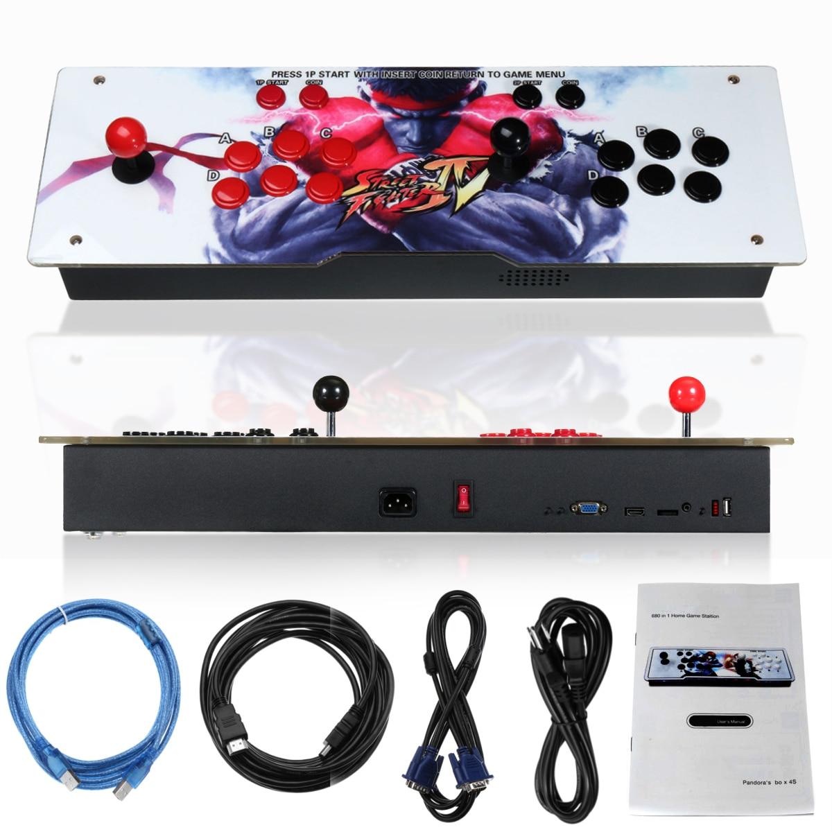 800 EN Boîte 1 4 s Rétro jeux vidéo console d'arcade led HD 2 Joystick AU Fer Acrylique Panneau VGA HDMI USB jeux à pièces