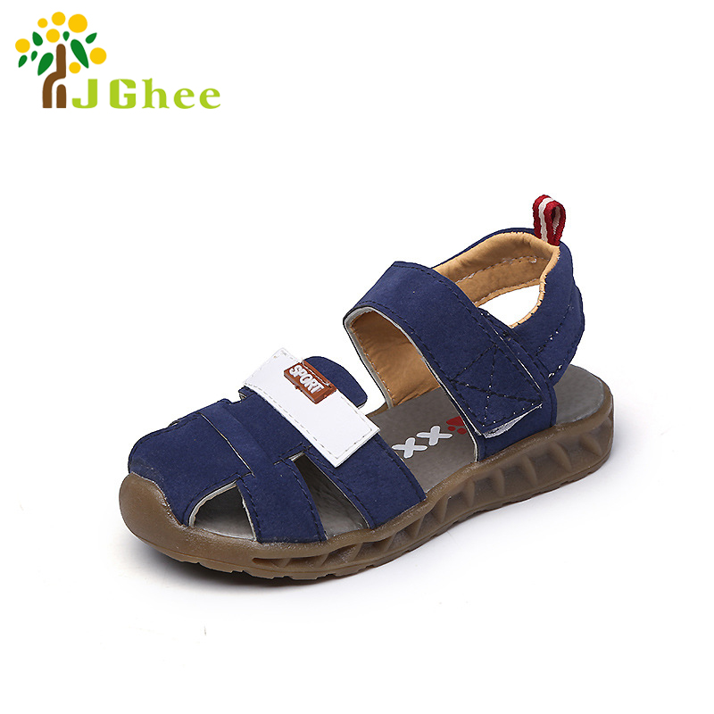 J Ghee 2017 Summer Kids Shoes For Boys Soft Fashion Boys Sandals 3-6 Years Massage Toe-Capped Children's Beach Shoes Leather New