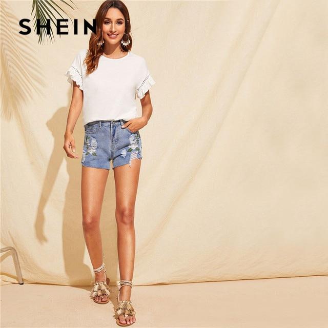 SHEIN Ruffle Trim Guipure Lace Detail White T Shirt Ladies Tops Summer Casual Cute Solid Short Sleeve Stretchy Women Tshirt 2