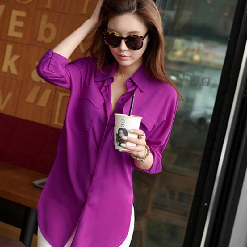 BONJEAN New Fashion Gradient Color Summer Chiffon Shirt Women Casual Loose Top Blouse Blusas Y Camisas Mujer Plus Size