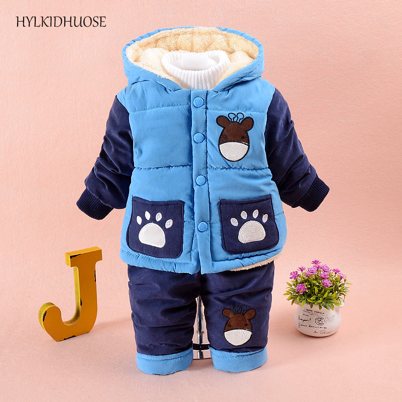 HYLKIDHUOSE 2017 Infant/Newborn Winter Clothes Sets Cartoon Baby Boys Suits Hooded Warm Coats+Pants Children Kids Outdoor Suits baby girls boys winter clothes sets children infant suits kids thick plaid warm coats pants two piece suit children kids suits