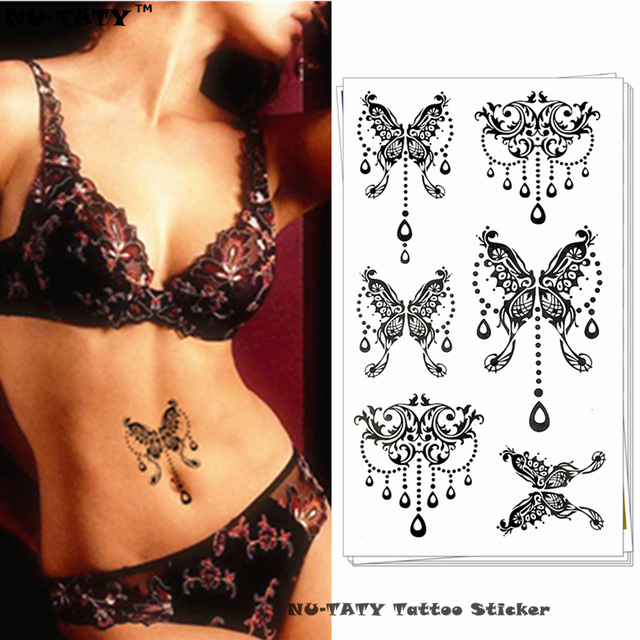 Nu-TATY Black Big Butterfly Temporary Tattoo Body Art Arm Flash Tattoo Stickers 17x10cm Waterproof Fake Henna Painless Tattoo