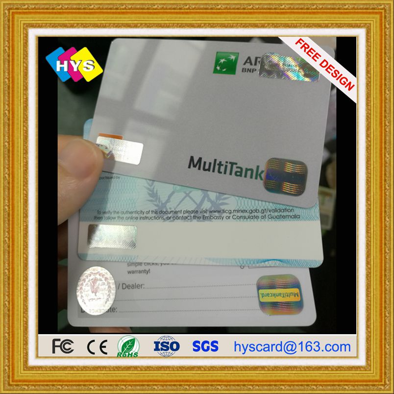 Anti-Fake Card With Hologram Logo And Pvc Member Card Supply