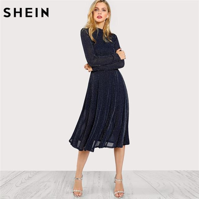Шеин линии дамы Платья для женщин темно-с длинным рукавом макет Средства ухода за кожей шеи блестками Fit Абд Flare платье Стенд воротник элегантное праздничное платье