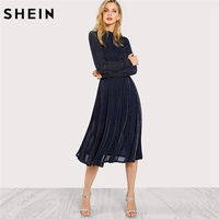 SHEIN A Line Ladies Dresses Navy Long Sleeve Mock Neck Glitter Fit Abd Flare Dress Stand