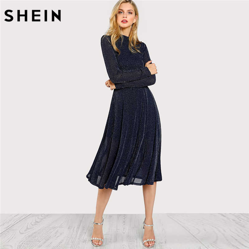SHEIN A Line Ladies Dresses Navy Long Sleeve Mock Neck Glitter Fit abd Flare  Dress Stand 024fa5069381