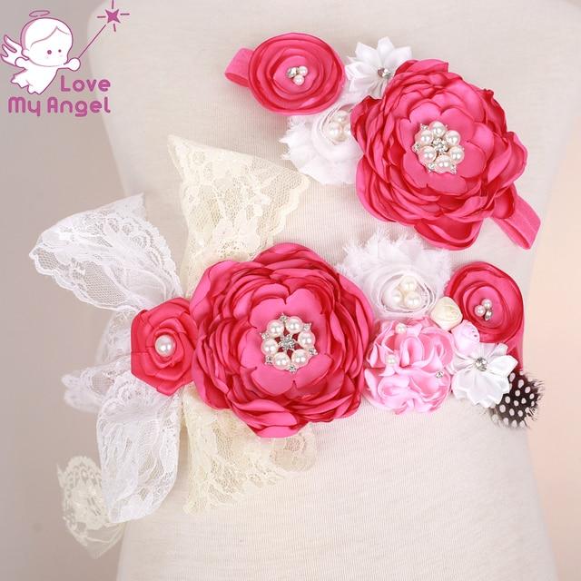 88d8f81c34d 1 set Bébé fille fleur sash et bandeau ensemble dentelle satin floral sash ceinture  Maman de