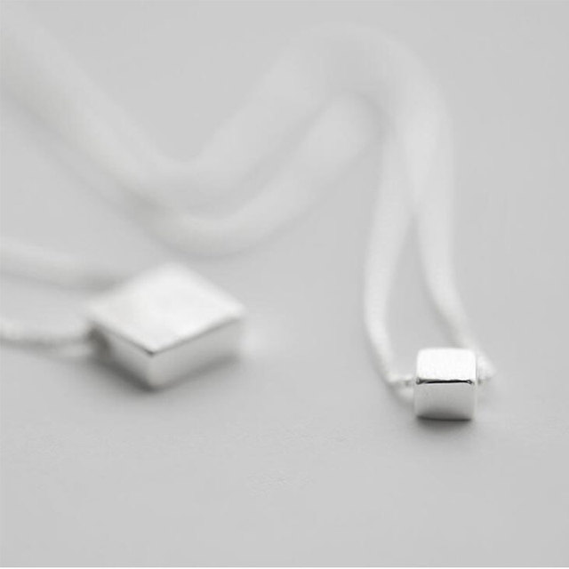 925 Jewelry Double Layer Square Box Simple Necklace