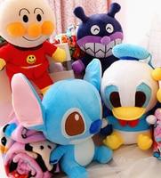 Plush 1pc 30cm cartoon Donald Duck Stitch Anpanman Baikinman soft flannel blanket office rest toy creative gift for kids baby