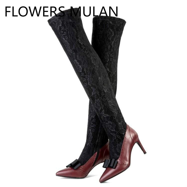 New Designers Pathwork Red Leather Black Lace Upper Women Boots Over The Knee Chic Pointed Toe Side Zip Zapatos De Mujer ShoesNew Designers Pathwork Red Leather Black Lace Upper Women Boots Over The Knee Chic Pointed Toe Side Zip Zapatos De Mujer Shoes