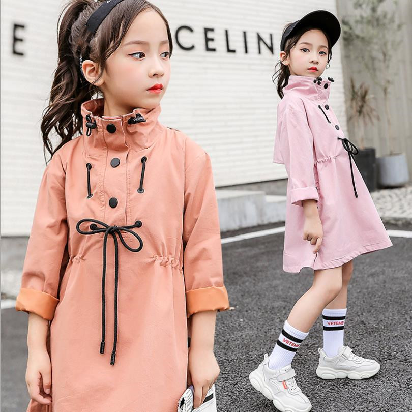 Children girls   trench   coats spring autumn new long sleeve solid outerwear jackets fashion good quality tops for children ws933