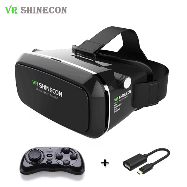 Hot Shinecon VR Pro Virtual Reality Smartphone 3D Glasses Headset Google Cardboard Head Mount for 4-6' Mobile Phone + Remote