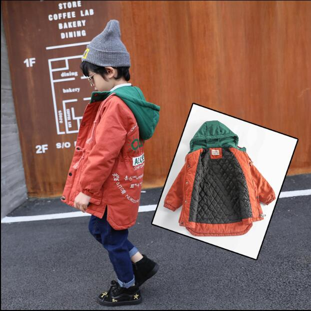 Broken code clearance boy jacket 2018 new European and American casual cotton children's  long casual windbreaker tide