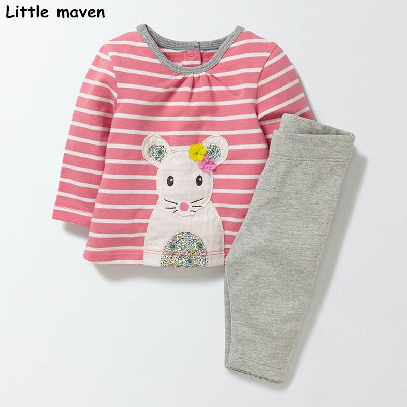 Little maven children's set 2018 new autumn girls Cotton brand long sleeve striped cloth mouse t shirt + solid gray pants 20161