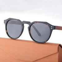 HINDFIELD Okrągły Acetat Okulary Przeciwsłoneczne Damskie Marka Projektant Vintage Acetate Ramki + Drewno Arms Okulary Spolaryzowane UV400
