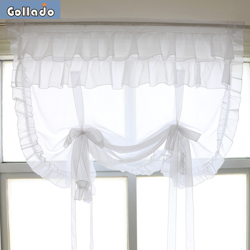 RU Romantic Lotus Leaf Edge Design Tulle Voile Livingroom Balcony Kitchen Window Curtain  Sheer Wave Blinds 1PCS