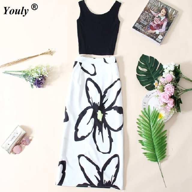 656fc6162 Black Tops Vest Floral and White Skirts 2 Two Piece Set 2018 Crop Top Slit  Pencil Skirt 2 Piece Set Women Sexy Workwear Outfit