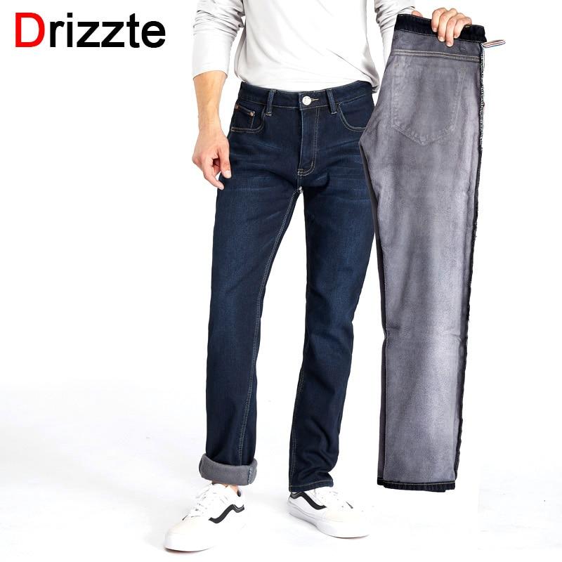 Drizzte Mens Winter Fleece Jeans Lined Stretch Denim Warm Black Jeans For Men Designer Slim Fit Brand Trousers Pants Jeans