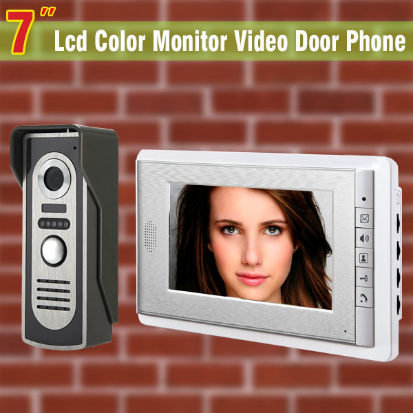 7 Inch Video Door Phone Doorbell Intercom System Video DoorBell Video Doorphone Kit Aluminium alloy night vision Camera 7 inch tft touch screen lcd color video door phone doorbell wall mounted intercom system night vision eye camera doorphone