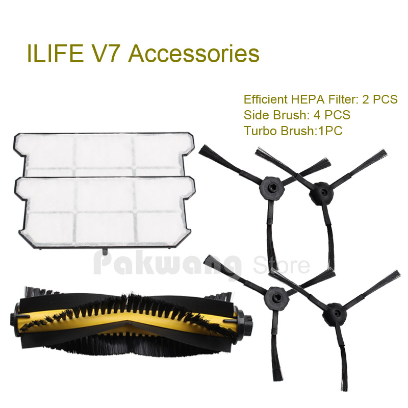 Original ILIFE V7 Robot vacuum cleaner Efficient HEPA Filter 2 pcs, Side brush 4 pcs and Turbo brush 1 pc from the factory original ilife v7 primary filter 1 pc and efficient hepa filter 1 pc of robot vacuum cleaner parts from factory
