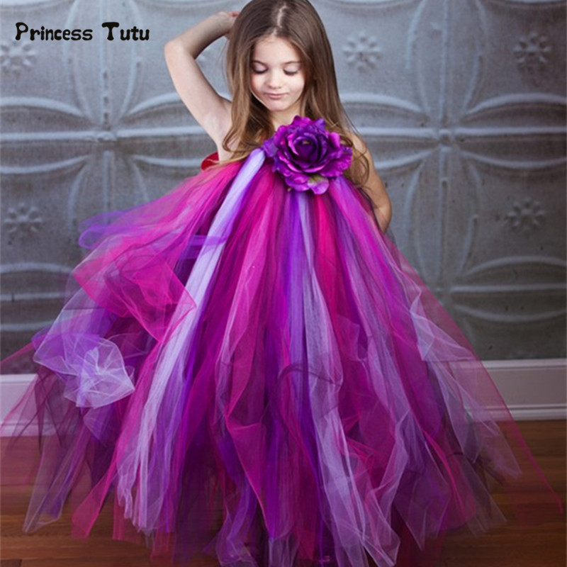 купить Pageant Tulle Girl Dress Wedding Party Kids Flower Girl Dresses Purple Princess Peacock Tutu Dress Children Costumes Vestidos дешево