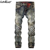 LetsKeep 2017 New Slim Straight Jeans For Men Biker Vintage Ripped Jeans Mens Plaid Designer Splice