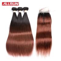 Allrun 3 חבילות T1B/33 צבע הודי שיער אדם ישר עם 4*4 סגירת תחרה משלוח חינם 4 יח'\חבילה אי רמי שיער הארכת