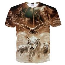 Новинка, Мужская футболка с 3D изображением волка, забавная футболка для мужчин и женщин, весенне-летняя футболка с коротким рукавом и круглым вырезом, Прямая поставка, европейский размер XXS-4XL