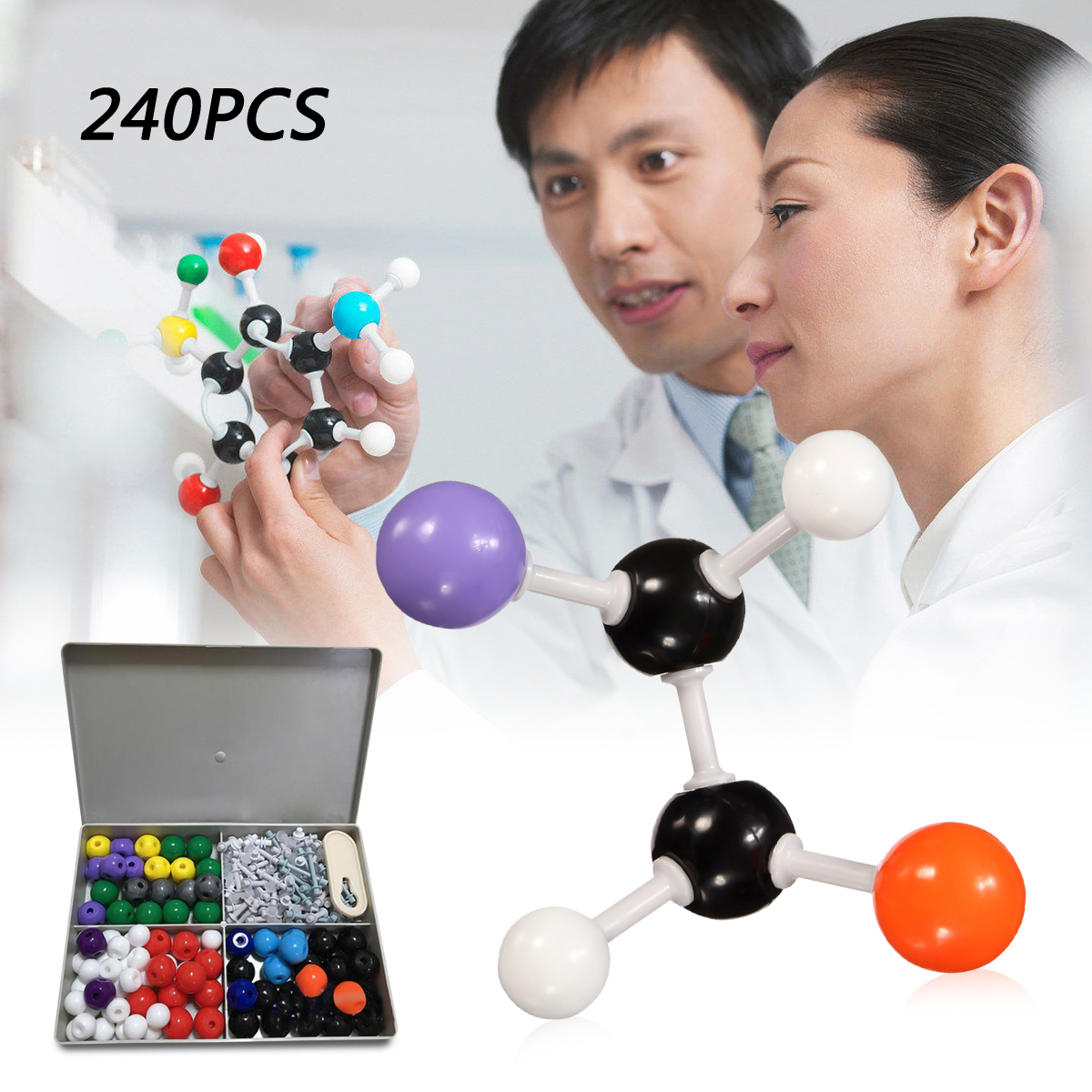 240Pcs Chemistry Molecular Molecules Model Kit General and Organic Chemistry Atom Bonds Student Set For School Lab Teaching model of molecular structure of organic chemistry tube formula presentation using teacher presentation teaching aids set