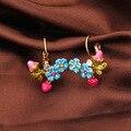 Les Nereide Pop Clip de Pendiente de La Joyería Para Las Mujeres Flores Serie Esmalte Esmalte Azul Margarita Flor Del Corazón Del Melocotón Rosa Accesorios de Lujo